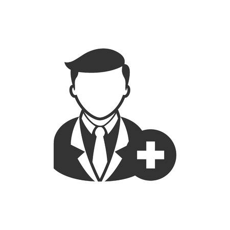 Businessman with plus sign icon in single grey color. Business office team add join recruit Illustration