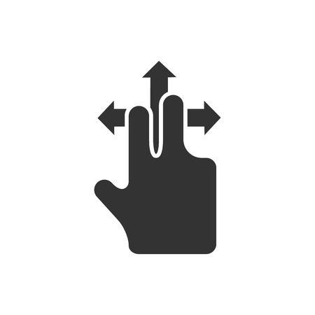 flick: Finger gesture icon in single grey color. Gadget touch pad display smartphone laptop computer Illustration