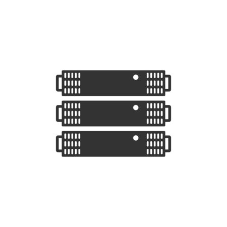 Server rack icon in single color. Computer data file center hosting cloud transfer Illustration
