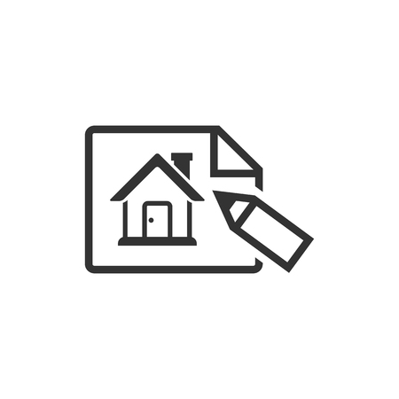 home icon: Blueprint icon in single grey color. Property house design mortgage Illustration