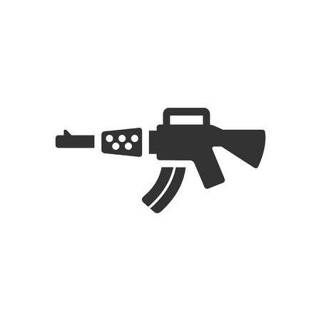 gatillo: icono de rifle de asalto en un solo color. ejército militar justicia policial de protección automática del disparador de la delincuencia