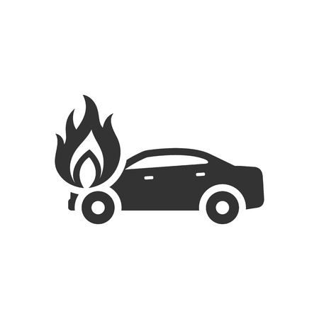 Car on fire icon in single color. Automotive transportation accident accident burned insurance claim
