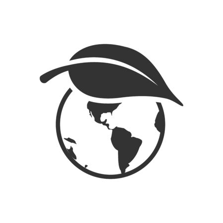 Globe with leaf icon in single grey color. Earth protection, conservation