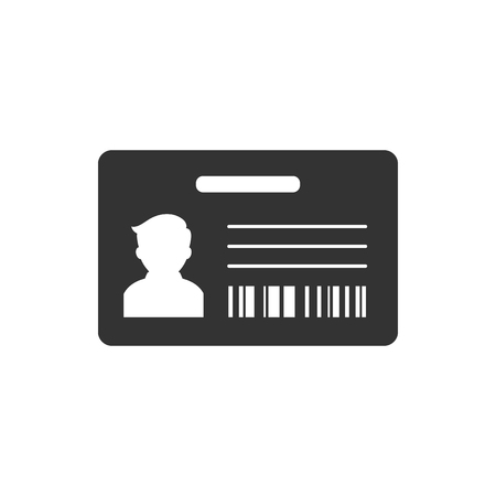 photo: ID Card icon in single grey color. Identity office worker businessman