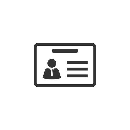 identity card: ID Card icon in single grey color. Identity office worker businessman