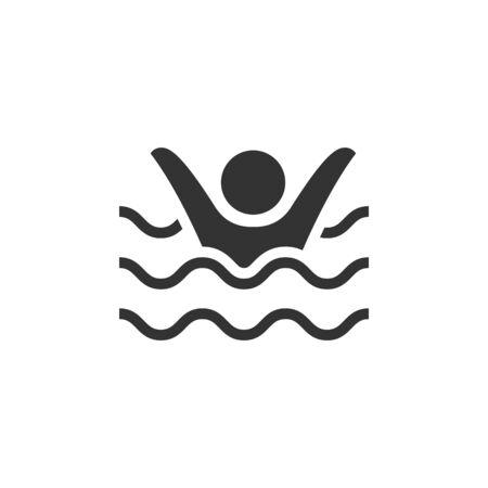Ertrunkenes Mann-Symbol in Einzelfarbe. Menschen Unfall Wasser Meer Strand Rettungsschwimmer