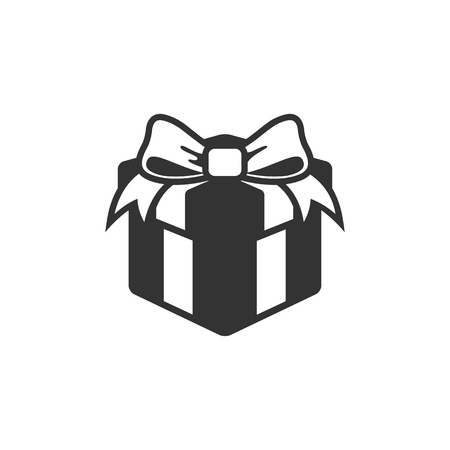 gift icon: Gift box icon in single grey color. Prize birthday Christmas holiday Illustration