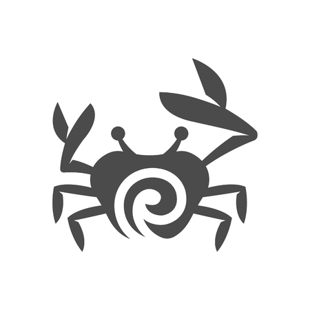 Crab icon in black and white grey single color. Animal sea creature food seafood crustacea