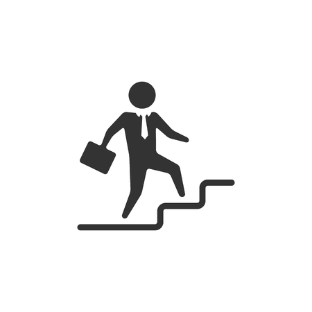 Businessman stairway icon in single color. Business office future ambition challenge