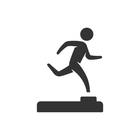 Athletic trophy icon in single grey color. Running triathlon decathlon competition sport Illustration