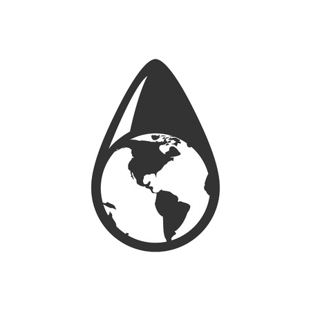 Earth water drop icon in single grey color. Climate change, conservation