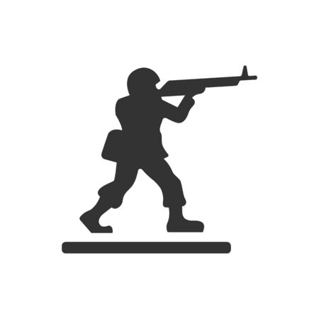 children silhouettes: Toy soldier icon in single grey color. Kids children playing war games Illustration