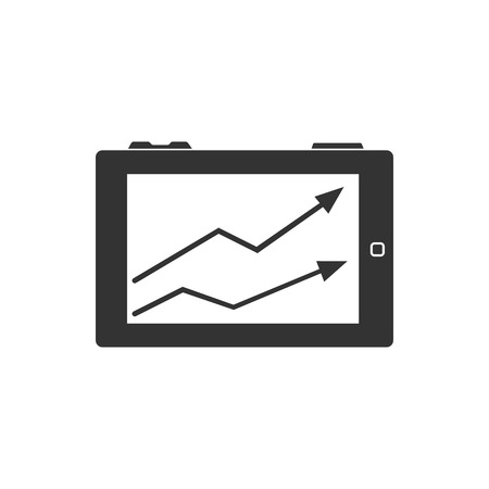 lcd: Arrow chart icon in single grey color. Digital, display, tablet, phone
