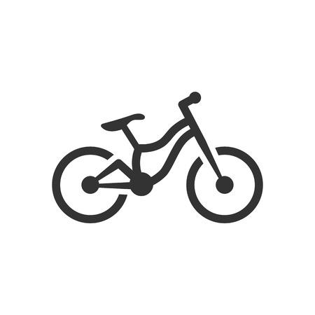 Mountain bike icon in single color. Sport transportation explore distance endurance bicycle suspension