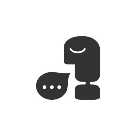 Contact icon in single grey color. Man talk bubble communicate business