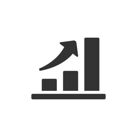 investment concept: Bar chart icon in single grey color. Finance report banking growth investment Illustration