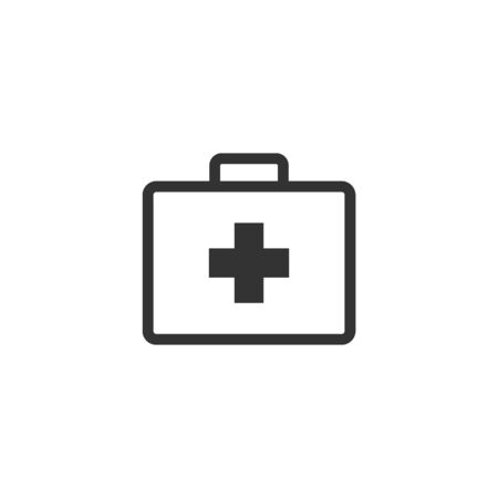 medical case: Medical case icon in single grey color. Health care equipment storage Illustration