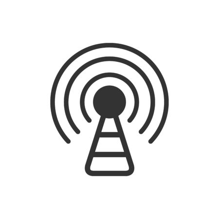 Podcast icon in single grey color. Broadcast