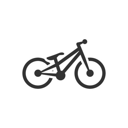 Trial bicycle icon in single color. Extreme sport athlete bike competition