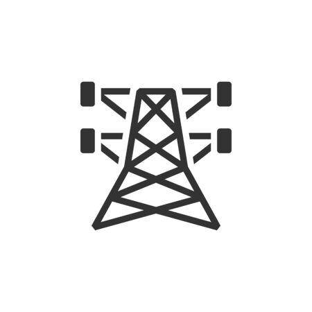 pylon: Pylon icon in single grey color. Electricity high voltage distribution energy