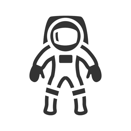 Astronaut icon in single grey color. Space exploration, protective gear, safety Vectores