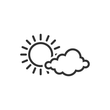 air: Weather forecast partly sunny icon in single color. Illustration