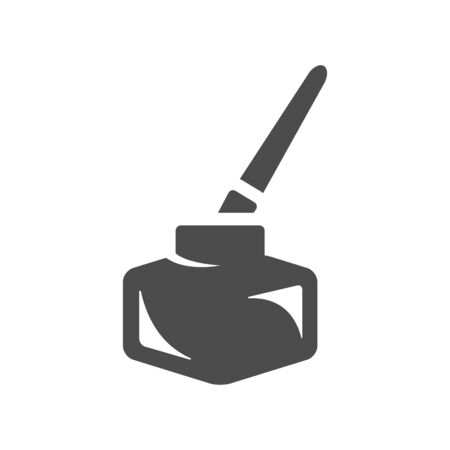 Ink pot icon with brush in single grey color. Illustration