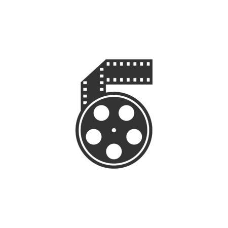 단일 회색 색상의 시네마 영화 릴 아이콘.