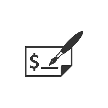 Check icon in single grey color. Money banking buying finance