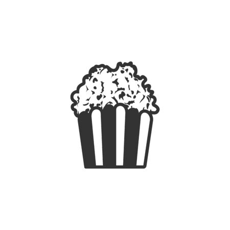 movie theater: Popcorn icon in single color. Movie food snack style theater trend
