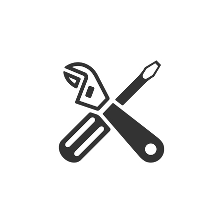 tools icon: Mechanic tools icon in single color. Wrench screw driver mechanic setting maintenance professional setting