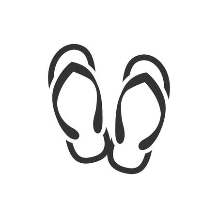 Ikona sandała Pantofelka w jednym kolorze. Odzież plażowa relaksująca na co dzień guma