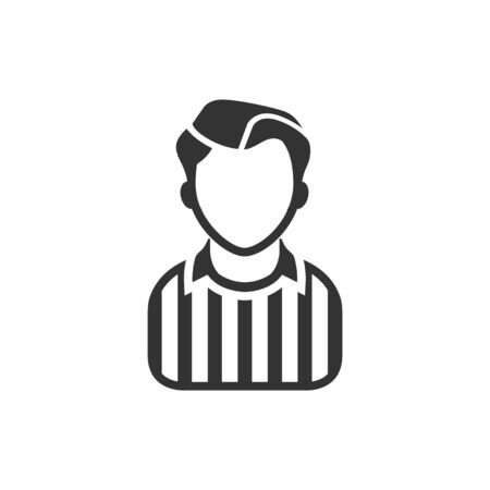 Referee avatar icon in single color. Sport football soccer competition game match judge