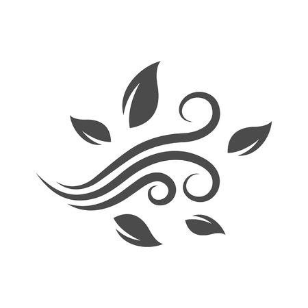 Blowing leaves icon in single grey color. Autumn fall falling windy weather forecast