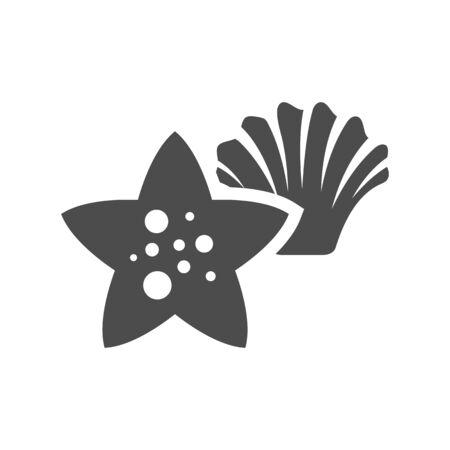 star icon: Star fish icon in black and white grey single color. Sea animal creature cute