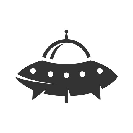 platillo volador: Flying saucer icon in single grey color. Alien, outer space, earth invasion Vectores