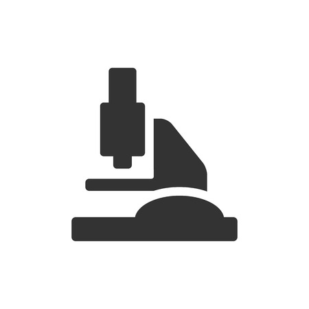 Microscope icon in single grey color. Science equipment laboratory chemist biology bactery virus magnification