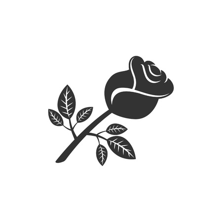 Rose icon in single grey color. Flower plant romantic red