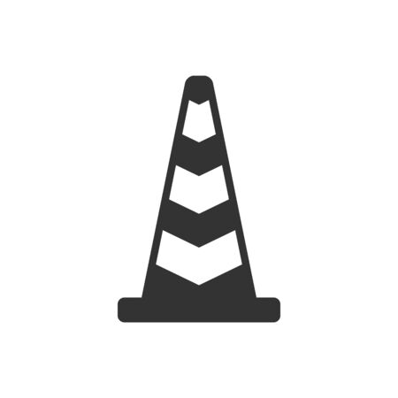 Traffic cone icon in single color. Road construction warning alert internet web page under construction