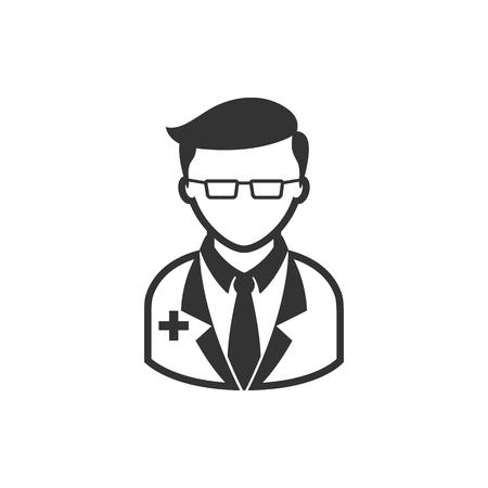 Doctor icon in single grey color. Medical practitioner healthcare