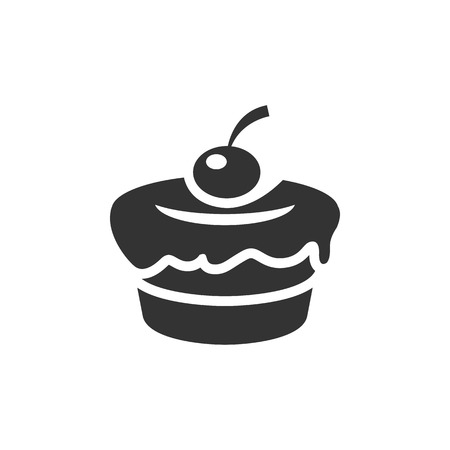 Cake icon in single color. Food sweet delicious glazed chocolate dessert