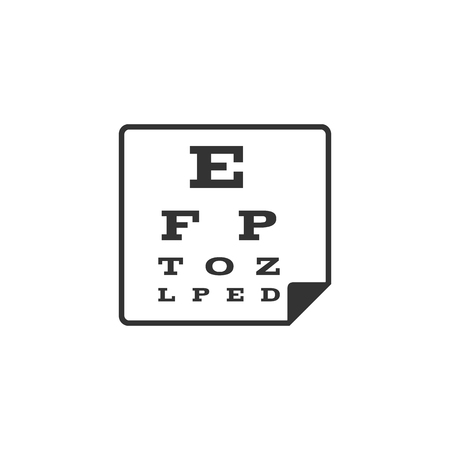 Eye test page icon in single grey color. Letters small tiny Illustration