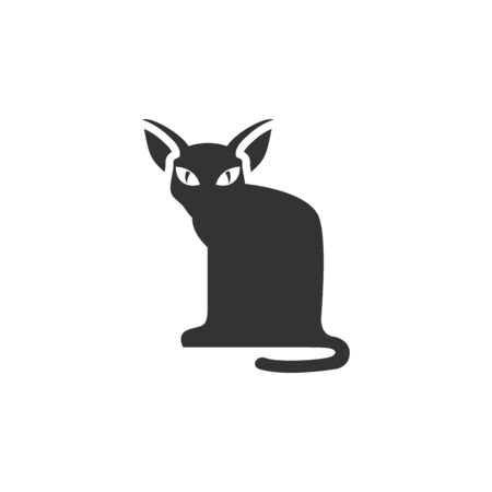 Cat icon in single color. Animal Halloween symbol dark black kitten fear Illustration