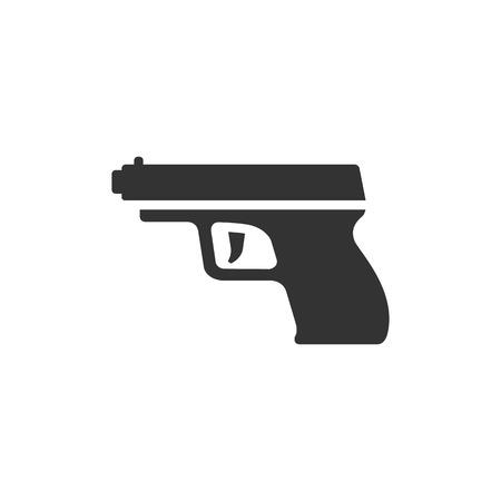 gatillo: Arm gun icon in single color. Pistol automatic police justice crime trigger protection
