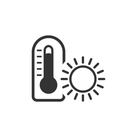 humidity: Thermometer icon in single color. Medical nature science temperature measure hot humid sunny tropical Illustration