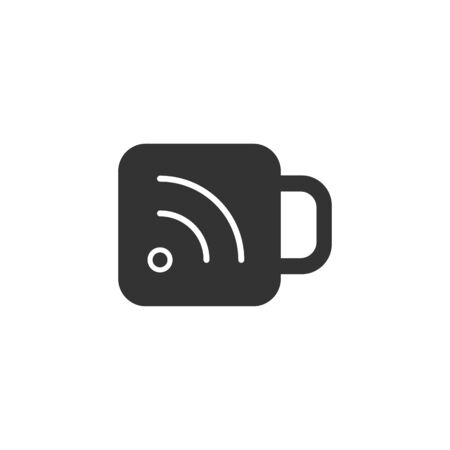news reader: Cup icon with RSS symbol in single grey color. Reader feed syndication news