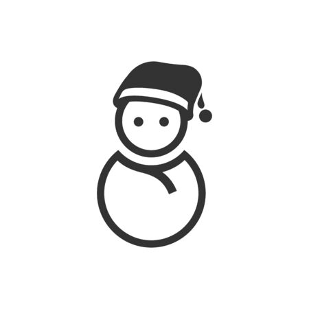 Snowman icon in black and white grey single color. Snow winter december season Christmas Illustration
