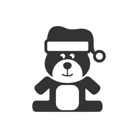 Teddy bear icon in single grey color. Christmas celebration gift animal happy merry Illustration