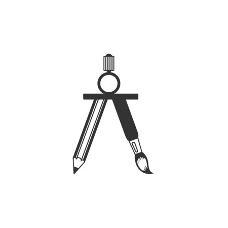 Drawing compass icon in single grey color. Illustration painting working tool precision