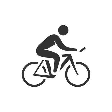 Cycling icon in single grey color. Road race tour triathlon time trial pursuit sport bicycle Illustration
